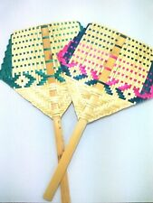Hand fan Hand-made bamboo Thai handcraft vintage style For travel picnic camping