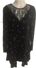 Express Wom Junior Small Black Polka Dot Floral Lace Shift Elastic Waist Blouson