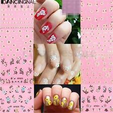 10 Sheet 3D Nail Art Tips Lace Flower Wrap Decal Stickers Decoration Manicure