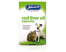 Johnsons Cod Liver Oil Capsules Supplement For All Cats And Dogs 40 Tablets