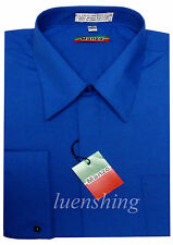 New French cuff men's dress shirts cover button work formal wedding royal blue