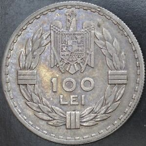Romania Silver 100 Lei 1932 London Toned High Grade