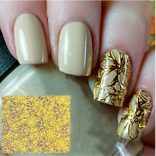 Embossed 3D Nail Art Stickers Decals Gold Flower Grid  Decoration Tips