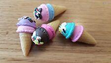 ICE Cream Fimo Cabochon o 1:6th scala DOLLSHOUSE x4 Ciondoli Venditore di UK