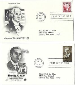 2 '96 FDCs 150th George Washington & Ernest E Just Marine Biologist SC#3058 3140