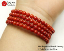 Natural 4-5mm Round Red Coral Steel Wire Wrap Bracelet  for Women Jewelry br448