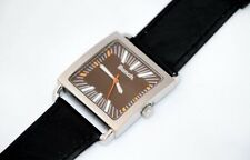 Bench Brown Face  Black Leather Strap Square Quartz Wrist Watch