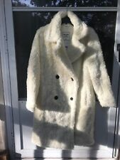 $160 ABERCROMBIE & FITCH WOMENS SHERPA CAR COAT JACKET CREAM SIZE M