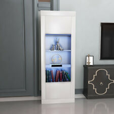 New Tall Display Cabinet with LED Withe Wood Glass Sideboard Cupboard UK Stock