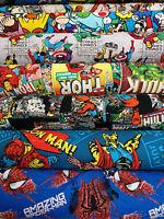 MARVEL SUPERHERO COMICS FABRIC 100% Cotton Material HULK, IRONMAN, THOR, RETRO