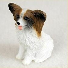 Papillon Brown White Tiny Ones Dog Figurine Statue Resin Pet Lovers