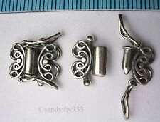 1x OXIDIZED STERLING SILVER 2-STRAND BUTTERFLY BOX CLASP #063