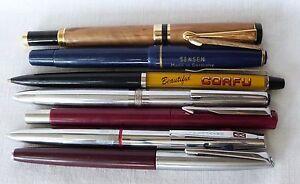 Vintage Lot of 7 Seven Collectible Pen & Fountain Pen Parker, Universal, SenSen