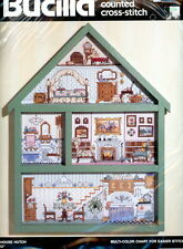 Vtg Bucilla Doll House Hutch Wood Frame Cross Stitch KIT Jorja Hernandez NEW
