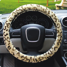 "Soft Leopard Plush Auto Car Steering Wheels Cover Anti-slip 38CM 15"" Beige"