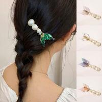 Women Girls Crystal Barrette Rhinestone Fishtail Hair Clip Clamp Pearl Hair Clip