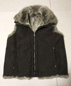 Women's Weatherproof Garment Company Sz M Faux Fur Brown Reversible Vest Zip Up