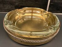 VINTAGE 2 PIECE GOLD TONE METAL GLASS ASHTRAY REGENCY MCM HOTEL HEAVY