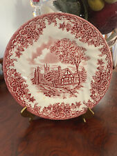 2 Churchill Staffordshire England  Red White Cottage Desert Plate