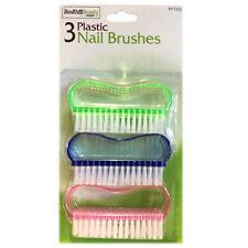 3 x Nail Hand Scrubbing Cleaning Brushes Plastic Nail Brush
