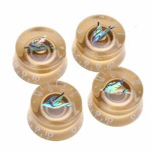 4 Abalone Bird Gold Les Paul Custom Control Speed Dial Knobs Metric