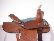 "USED 12"" BLUE KIDS SEAT YOUTH QUARTER HORSE SADDLE SHOW PLEASURE TRAIL LEATHER"