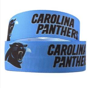 By The Yard 1 Inch Printed Carolina Panthers Football Grosgrain Ribbon  Lisa