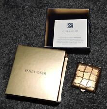 Powder Compact Gold Estee Lauder MIB Golden Link Square Weave Brand New Lucidity