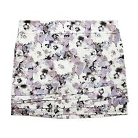 New LOFT Womens 14 White Purple Floral Cotton Shift Mini Skirt Large nwt