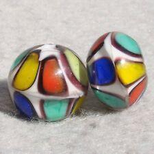 MONDRIANI Set(2) Handmade Art Glass Beads Flaming Fools Lampwork Art Glass