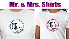 2 PERSONALIZED MR AND MRS  HONEYMOON T SHIRT. 2 CUSTOM COUPLE WEDDING SHIRTS