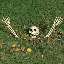 3 Piece Halloween Horror Buried Alive Skeleton Skull Garden Yard Lawn Decoration