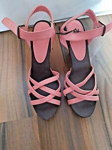 Sandaletten H&M NEU Gr.38 Sandalen Holz rosa korall Riemchen Blockabsatz