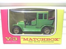 V. Rare LESNEY MATCHBOX MODELS of YESTERYEAR Y3 Green 1910 Benz OPEN Rear Braces