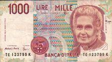 BANCONOTA ITALIANA DA 1000 LIRE MONTESSORI SERIE TE 123799 K SC-7