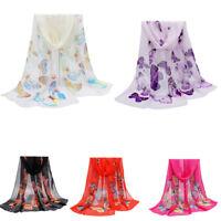 Fashion Scarf Lady Summer Chiffon Butterfly Print Neck Shawl Scarve Silk Scarf