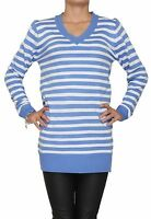 Womens Ladies V neck Long sleeved Stripped Top dress Jumper SIZE 10-12 14-16