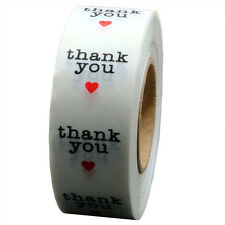 "1"" Clear Circle Wafer Thank You Stickers with Red Heart 1,000 Adhesive Label"