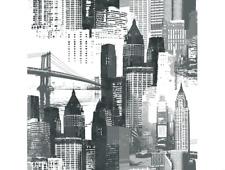 Wallpaper Designer Silver Metallic Mylar Foil Black Large New York City Skyline
