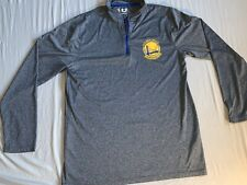 Warriors Half Zip Long Sleeve Shirt Athletic Mens Medium Gray Running Basketball