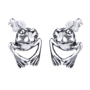 Jumping Frog Prince Stud Earrings 14K White Gold Over Sterling Silver 925