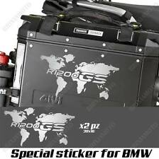 PAIR OF STICKERS WORLD MAP BMW R 1200 GS LC GLOBE FOR SIDE CASES SILVER