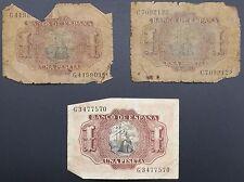 """Grupo de 3 España 1 PESETA billetes Banco de España"""""""" (1953), CIRCULADO"""