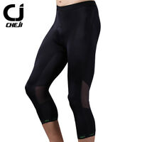 CHEJI Black Men's 3/4 Cycling Pants Gel Padded Bike Bicycle Biking Shorts Tight