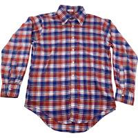 "Gant Mens Long Sleeve Button Down Front Shirt Red Blue Plaid Vintage 15.5 x 34"""