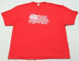Gildan American Flag Red & White T-Shirt Top Tee 3XL Short Sleeve Men's XXXL