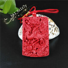 Chinese Fashion Red Organic Cinnabar Phoenix Pendant Necklace Lucky Amulet Hot
