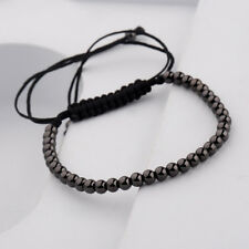 Men Black Micro Pave 4MM Balls Beads Braiding Adjustable Charm Handmade Bracelet