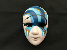 Ceramic Brooch Mask – White with Blue Paint - M13