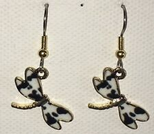 DRAGONFLY Earrings Stainless Hook New Goldtoned (A)